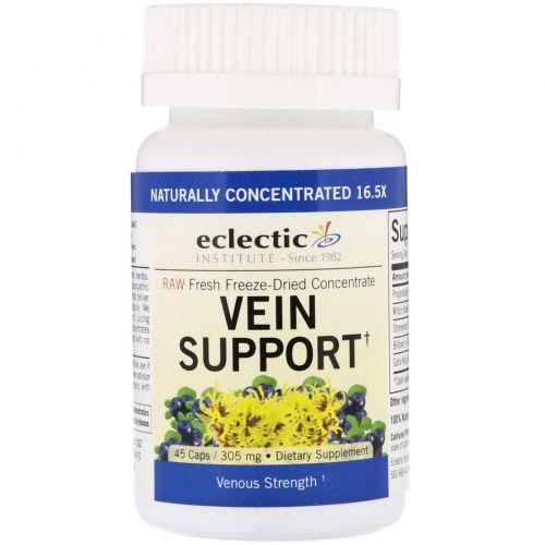 Eclectic Institute, Укрепление здоровья вен, коллинсония и гамамелис виргинский, 305 мг, 45 капсул