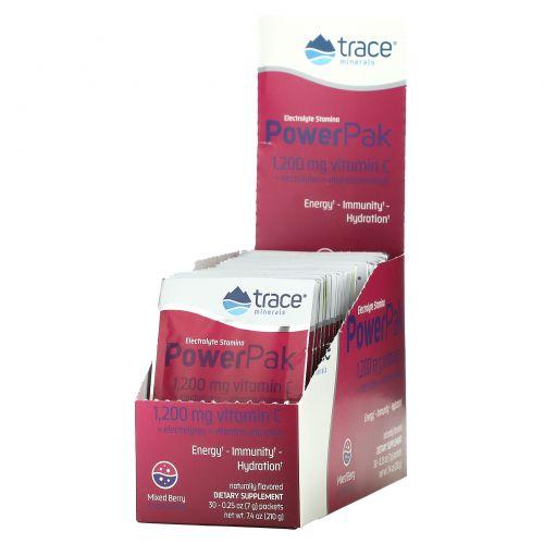 Trace Minerals Research, Комплекс с электролитами для повышения выносливости, Ягодная смесь, 1200 мг, 30 пакетиков, 0.25 унций (7.0 г)