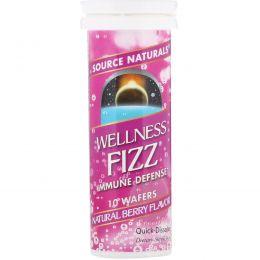 Source Naturals, Иммуностимулирующее средство Wellness Fizz, со вкусом натуральных ягод, 10 пластинок
