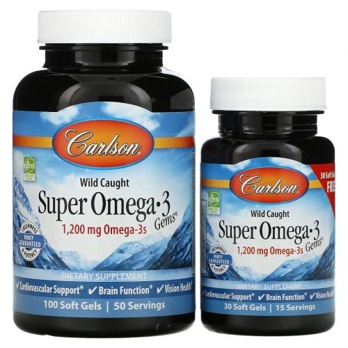 Carlson Labs, Wild Caught Super Omega-3 Gems, 1,200 mg, 100 + 30 Free Soft Gels