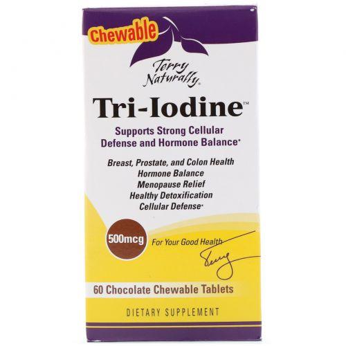 EuroPharma, Terry Naturally, Tri-Iodine, шоколад, 500 мкг, 60 жевательных таблеток