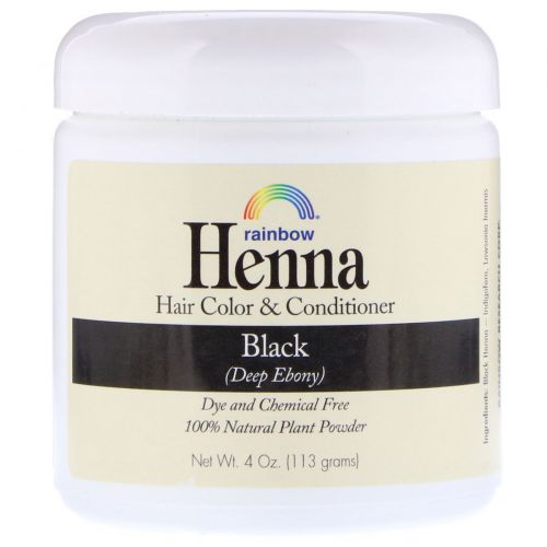 Rainbow Research, Хна, краска для волос и кондиционер, черный, 113 г