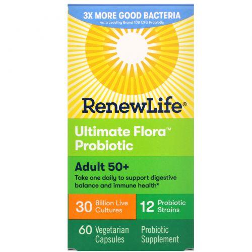 Renew Life, Пробиотик Ultimate Flora для взрослых 50+, 30 миллиардов, 60 вегетарианских капсул