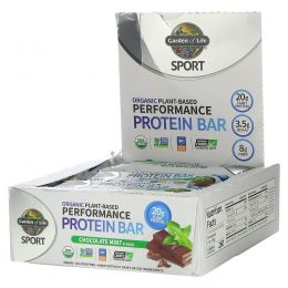 Garden of Life, Sport, Organic Plant-Based Performance Protein Bar, Chocolate Mint, 12 Bars, 2.5 oz (70 g) Each