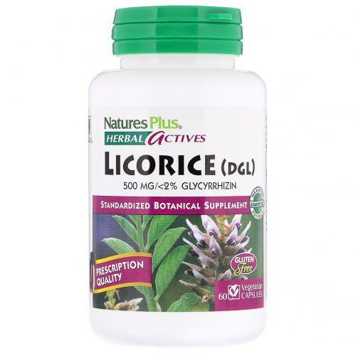 Nature's Plus, Herbal Actives, лакрица (ДГЛ), 60 растительных капсул