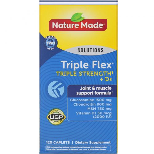 Nature Made, Тройная гибкость, тройная сила с витамином D3, 120 таблеток