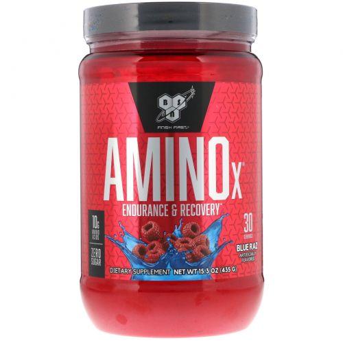 BSN, AminoX, формула с аминокислотами с разветвленной цепью, без кофеина, синяя малина, 15.3 унц. (435 г)
