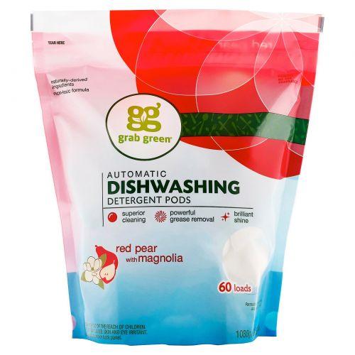GrabGreen, Моющее средство для посудомоечной машины, красная груша и магнолия, 2 фунта, 4 унции (1080 г)