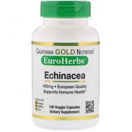 California Gold Nutrition, Эхинацея, EuroHerbs, цельный порошок, 400 мг, 180 вегетарианских капсул