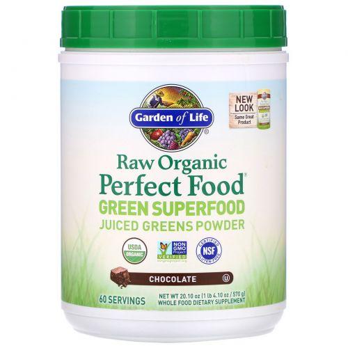 Garden of Life, Свежее органическое зеленое суперпитание Perfect Food RAW, шоколад-какао, 20 унций (570 г)