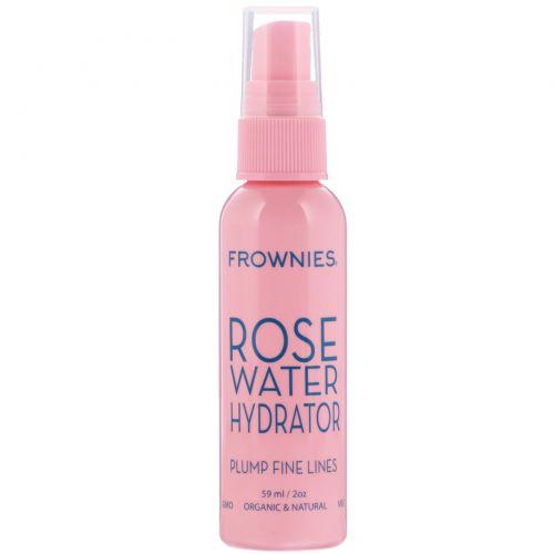 Frownies, Гидрирующий спрей с розовой водой, 2 унции (59 мл)