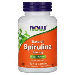 Now Foods, Спирулина, пища, богатая питательными веществами, 500 мг, 120 растительных капсул