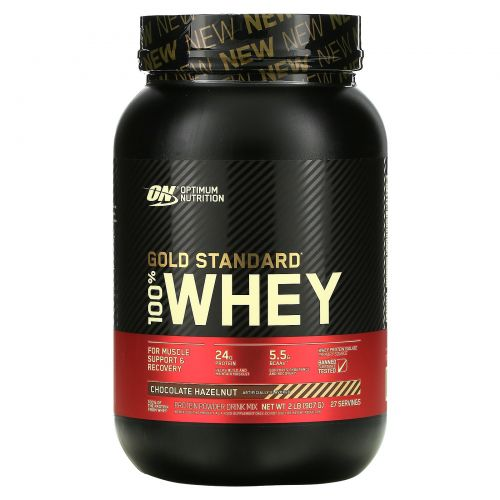 Optimum Nutrition, Gold Standard, 100% сыворотка, фундук в шоколаде, 2 ф. (907 г)