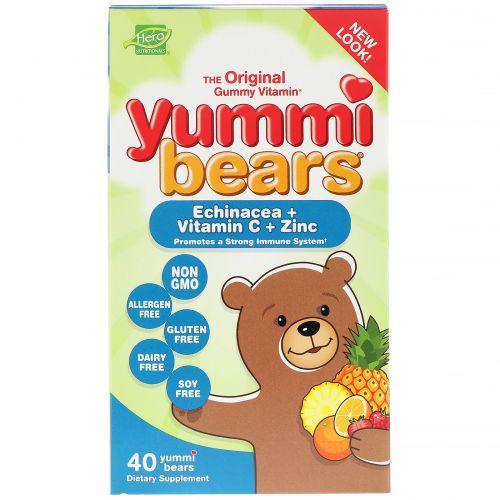 Hero Nutritional Products, Yummi Bears, Echinacea + Vitamin C + Zinc, 40 Yummi Bears