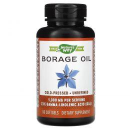Nature's Way, EFAGold, огуречник аптечный, 1300 мг, 60 мягких желатиновых капсул