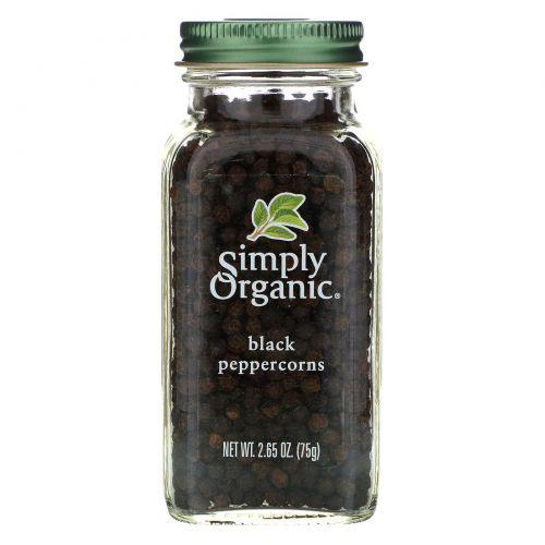 Simply Organic, Зерна черного перца, 2.65 унций (75 г)