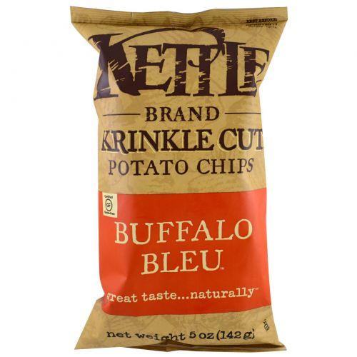 Kettle Foods, Картофельные чипсы, со вкусом мяса баффало блю, 5 унций (142 г)