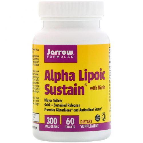 Jarrow Formulas, Альфа-липоевая кислота 300 с биотином, 300 мг, 60 таблеток