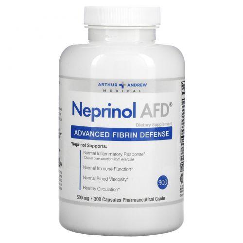 Arthur Andrew Medical, Neprinol AFD, защита организма от вредного воздействия фибрина, 500 мг, 300 капсул