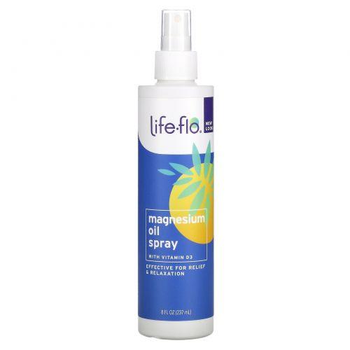 Life-flo, Спрей с магниевым маслом, с витамином D3, 8 ж. унц. (237 мл)