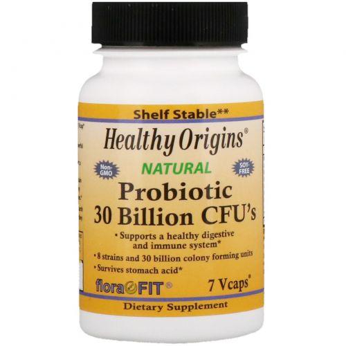 Healthy Origins, Пробиотики, 30 миллиардов микроорганизмов, 7 капсул