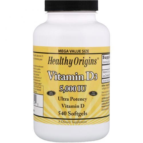 Healthy Origins, Витамин D3, 5000 МЕ, 540 желатиновых капсул