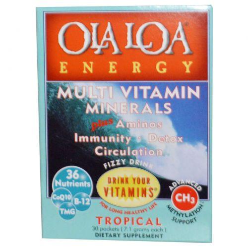Ola Loa, Мульти витамины и минералы для энергии с тропическим вкусом, 30 пакетов, (7.1 г) каждый