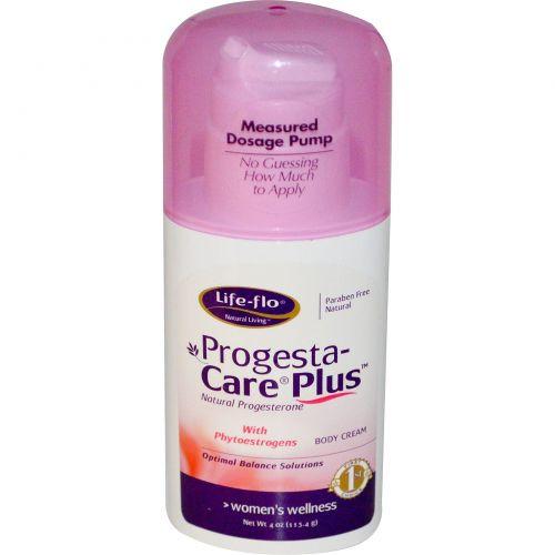 Life Flo Health, Progesta плюс, крем для ухода за телом с прогестероном и фитоэстрогенами, 113.4 г