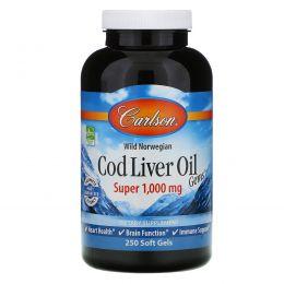 Carlson Labs, Масло из печени трески, супер 1000 мг, 250 жидких гелевых капсул