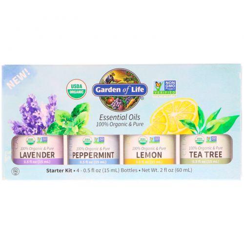 Garden of Life, Organic Essential Oil Starter Pack, Lavender, Peppermint, Lemon, Tea Tree, 4 Bottles, 0.5 fl oz (15 ml) Each