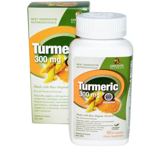 Genceutic Naturals, Куркума, 300 мг, 60 природных капсул NP