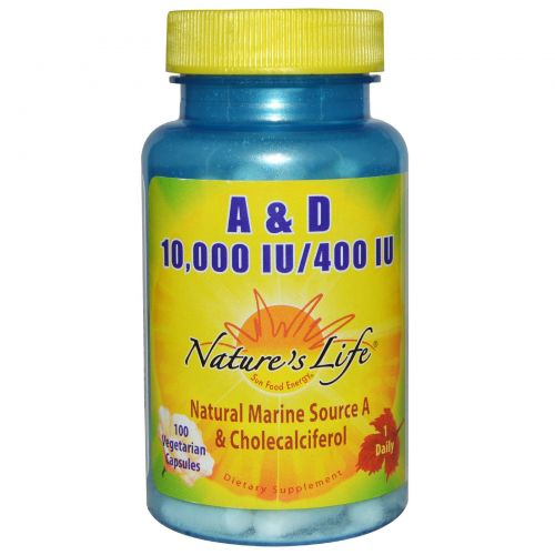 Nature's Life, А и Д, 10000 и 400 МЕ, 100 вегетарианских капсул