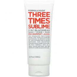 Formula 10.0.6, Three Times Sublime, 3 in 1 Blackhead Wash + Scrub + Mask, Pink Grapefruit + Jojoba, 3.4 fl oz (100 ml)