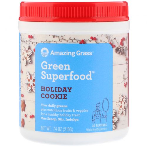 Amazing Grass, Green Superfood, Holiday Cookie, 7.4 oz (210 g)