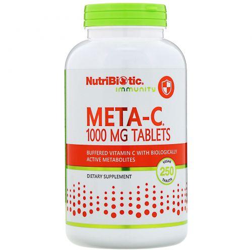 NutriBiotic, Meta-C, 1000 мг, 250 веганских таблеток