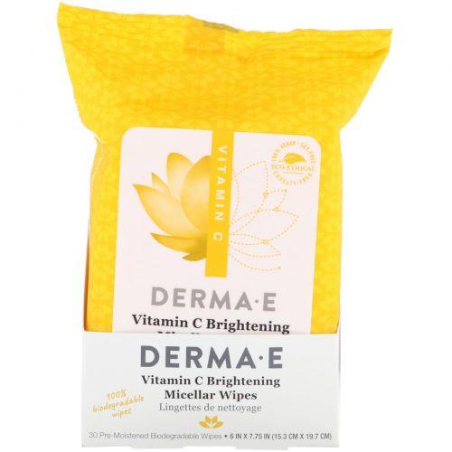 Derma E, Витамин С, осветляющие мицеллярные салфетки, 30 предварительно увлажненных салфеток
