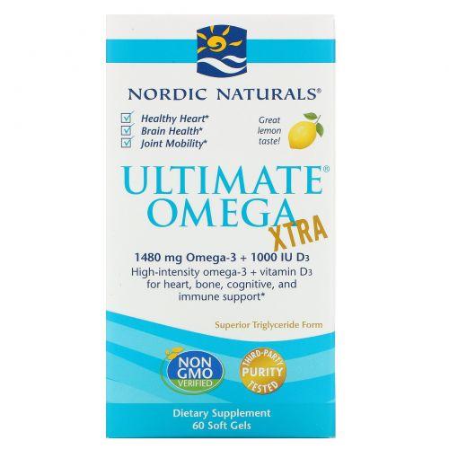 Nordic Naturals, Ultimate Omega Xtra, лимон, 1000 мг, 60 мягких таблеток