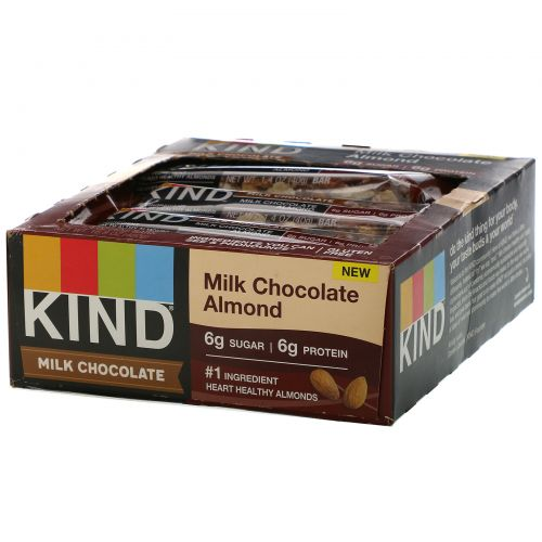 KIND Bars, Milk Chocolate,  Almond, 12 Bars, 1.4 oz (40 g) Each