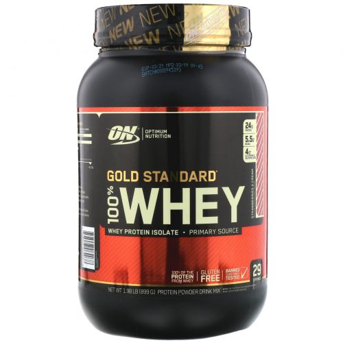 Optimum Nutrition, Gold Standard, 100% Whey, Strawberries & Cream 1.98 lb (899 g)