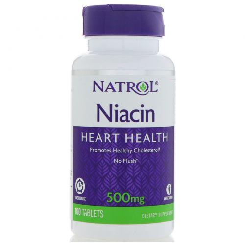 Natrol, Niacin TR, время высвобождения, 500 мг, 100 таблеток