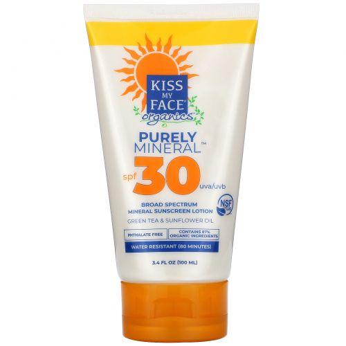 Kiss My Face, Organics, Purely Mineral,  Broad Spectrum Mineral Sunscreen Lotion,  SPF 30, 3.4 fl oz (100 ml)