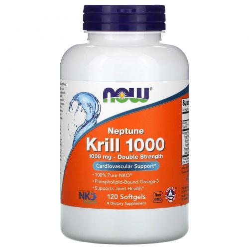 """Now Foods, Криль """"Нептун"""" 1000, 1000 мг, 120 желатиновых капсул"""