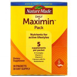 Nature Made, Daily Maximin Pack, поливитамины и минералы, 6 ингредиентов в пакетике, 30 пакетиков