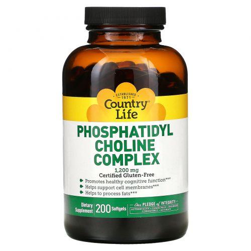 Country Life, Комплекс фосфатидилхолина, 1200 мг, 200 мягких капсул