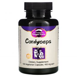 Dragon Herbs, Кордицепс, 500 мг, 100 растительных капсул