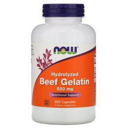 Now Foods, Говяжий желатин, 550 мг, 200 капсул