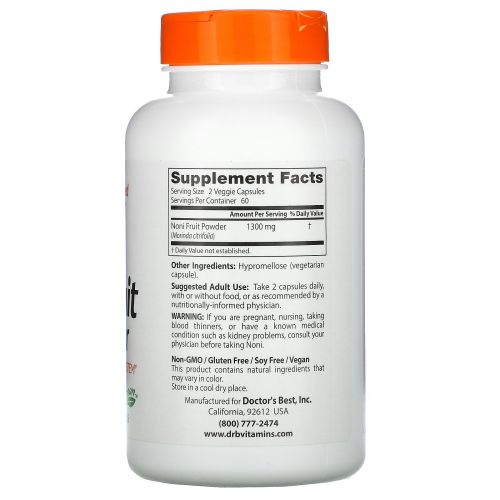 Doctor's Best, Концентрат нони, 650 мг, 120 вегетарианских капсул