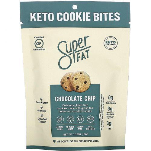 SuperFat, Keto Cookie Bites, Chocolate Chip, 3 Packs, 2.25 oz (64g) Each
