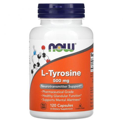 Now Foods, L-тирозин (L-Tyrosine), 500 мг, 120 капсул