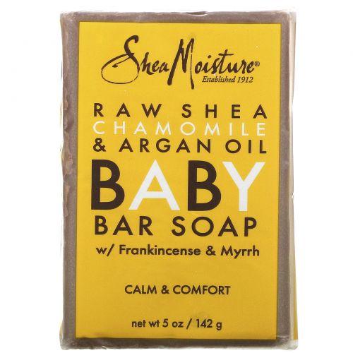 Shea Moisture, Детское мыло против экземы, сырое масло ши, ромашка и аргановое масло, 5 унций (141 г)